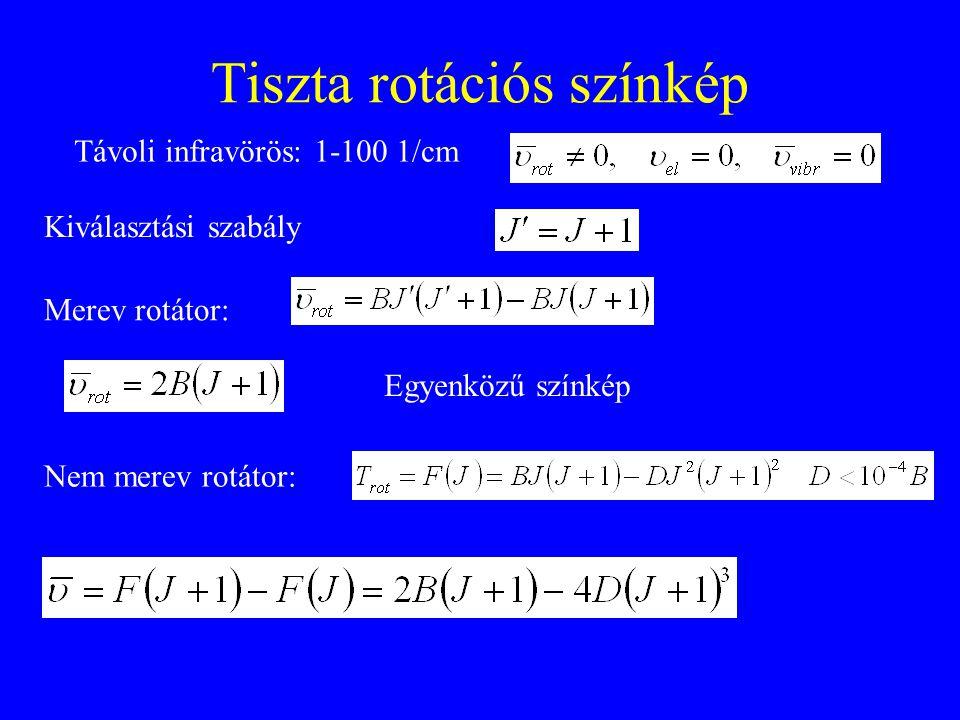 Tiszta rotációs színkép Távoli infravörös: 1-100 1/cm Nem merev rotátor: Merev rotátor: Egyenközű színkép Kiválasztási szabály