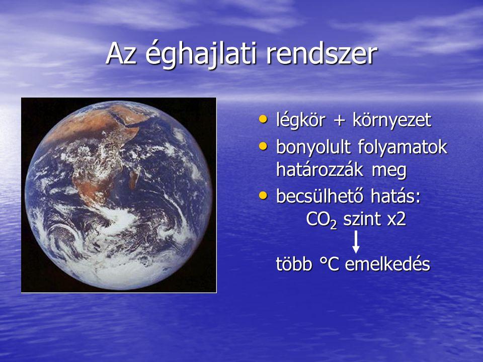 Az éghajlati rendszer légkör + környezet légkör + környezet bonyolult folyamatok határozzák meg bonyolult folyamatok határozzák meg becsülhető hatás: CO 2 szint x2 több °C emelkedés becsülhető hatás: CO 2 szint x2 több °C emelkedés