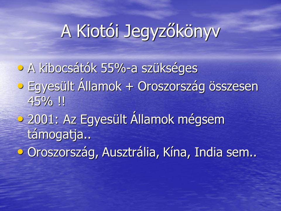 A Kiotói Jegyzőkönyv A kibocsátók 55%-a szükséges A kibocsátók 55%-a szükséges Egyesült Államok + Oroszország összesen 45% !.