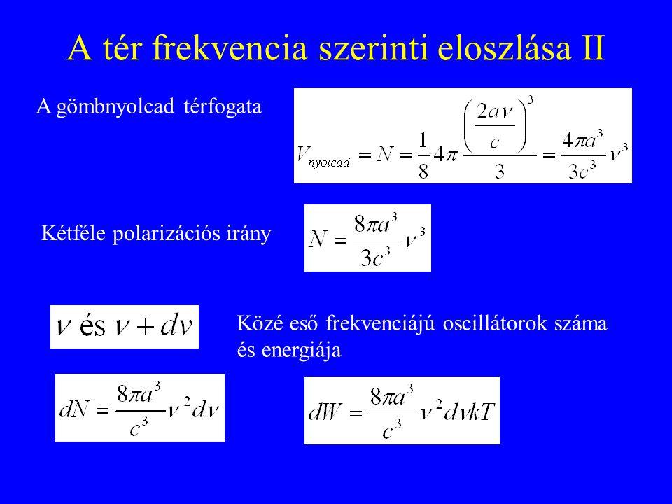 A tér frekvencia szerinti eloszlása II A gömbnyolcad térfogata Kétféle polarizációs irány Közé eső frekvenciájú oscillátorok száma és energiája