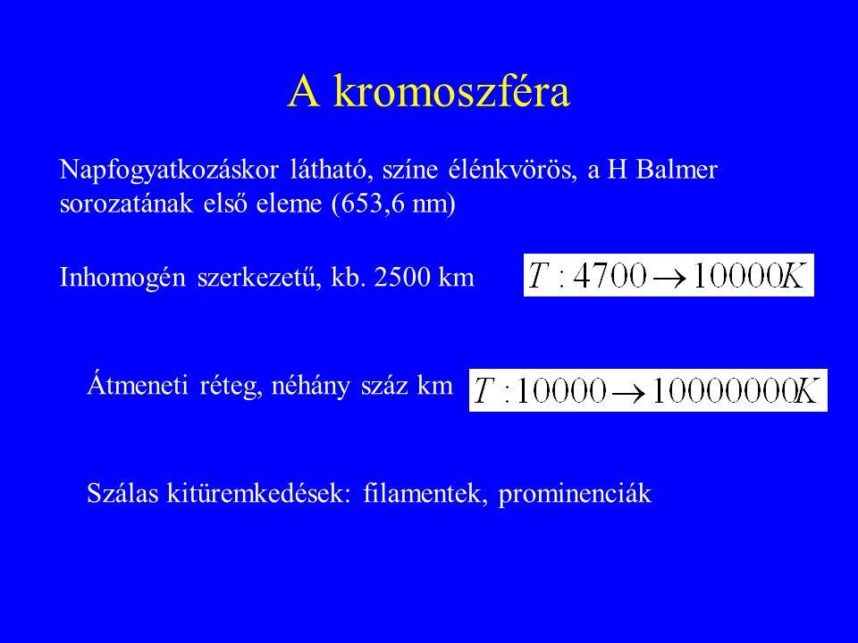 A kromoszféra Napfogyatkozáskor látható, színe élénkvörös, a H Balmer sorozatának első eleme (653,6 nm) Inhomogén szerkezetű, kb. 2500 km Átmeneti rét