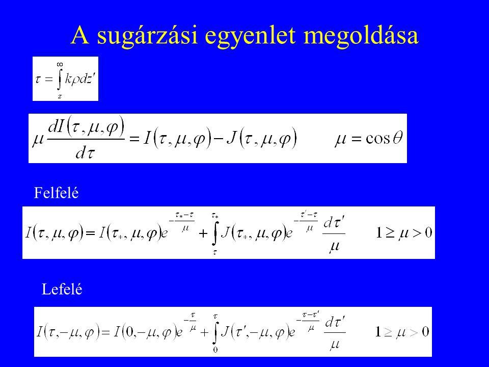 A sugárzási egyenlet megoldása Felfelé Lefelé