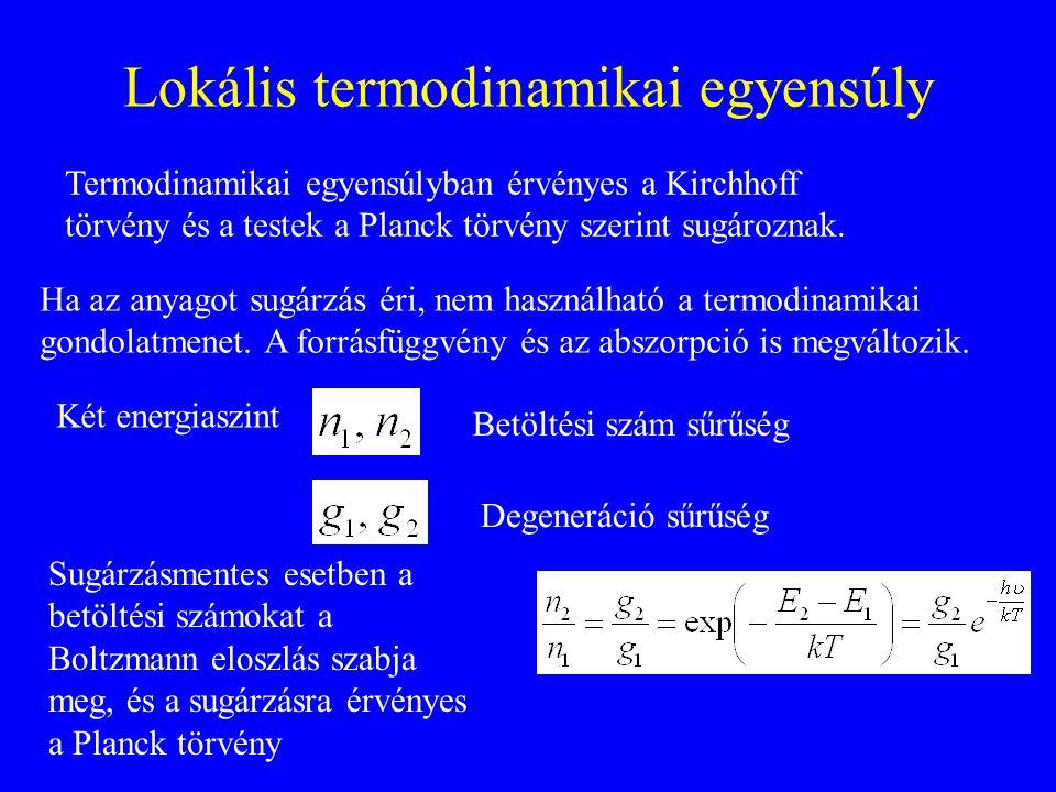 Lokális termodinamikai egyensúly Termodinamikai egyensúlyban érvényes a Kirchhoff törvény és a testek a Planck törvény szerint sugároznak. Ha az anyag