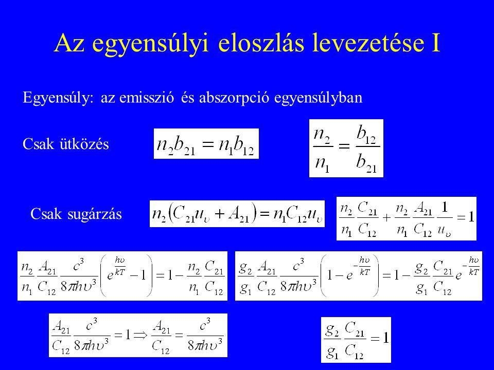 Az egyensúlyi eloszlás levezetése I Csak ütközés Egyensúly: az emisszió és abszorpció egyensúlyban Csak sugárzás