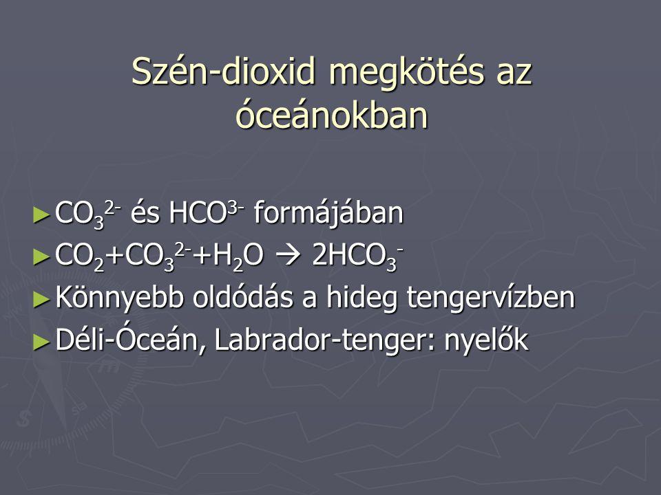 Szén-dioxid megkötés az óceánokban ► CO 3 2- és HCO 3- formájában ► CO 2 +CO 3 2- +H 2 O  2HCO 3 - ► Könnyebb oldódás a hideg tengervízben ► Déli-Óceán, Labrador-tenger: nyelők