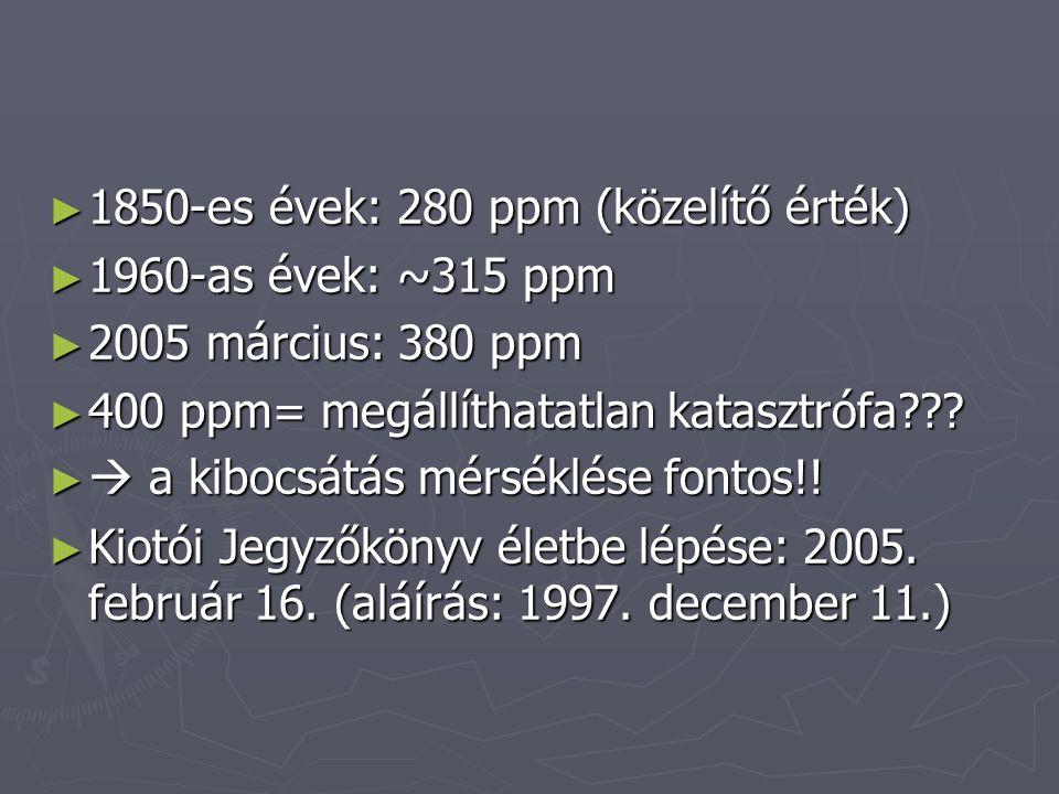 ► 1850-es évek: 280 ppm (közelítő érték) ► 1960-as évek: ~315 ppm ► 2005 március: 380 ppm ► 400 ppm= megállíthatatlan katasztrófa .