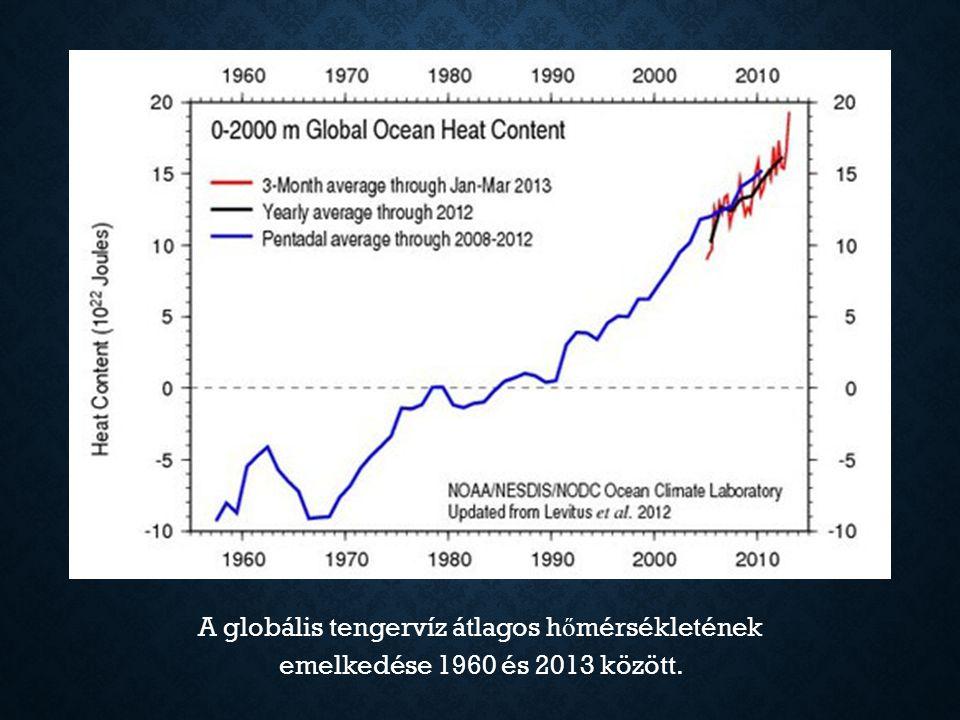 A GLOBÁLIS HŐMÉRSÉKLET- NÖVEKEDÉS HATÁSA Például: környezet változásaira tengerszint emelkedésére csapadék mennyiségének és térbeli eloszlásának megváltozásához árvizek, hurrikánok és tájfunok gyakoribbakká, nagyobbakká, pusztítóbbakká válhatnak árvizekhurrikánoktájfunok egyes állat- és növényfajok kipusztulásának sebessége jelent ő sen n ő, másoké viszont megállhat bizonyos betegségek könnyebben elterjedhetnek