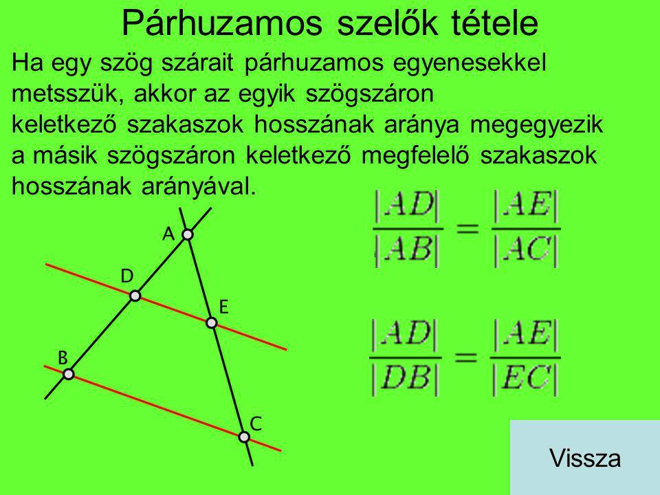 Párhuzamos szelők tétele Ha egy szög szárait párhuzamos egyenesekkel metsszük, akkor az egyik szögszáron keletkező szakaszok hosszának aránya megegyez