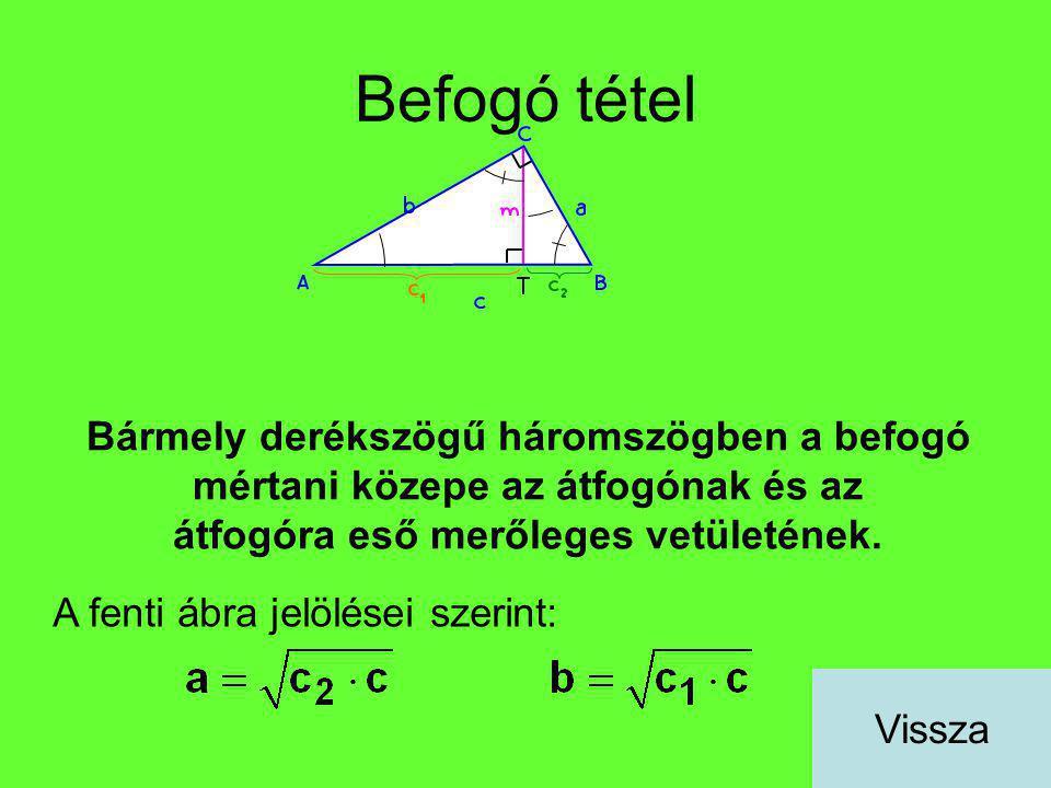 Befogó tétel Bármely derékszögű háromszögben a befogó mértani közepe az átfogónak és az átfogóra eső merőleges vetületének. A fenti ábra jelölései sze