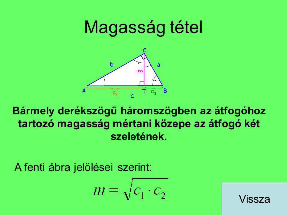 Magasság tétel Bármely derékszögű háromszögben az átfogóhoz tartozó magasság mértani közepe az átfogó két szeletének. A fenti ábra jelölései szerint: