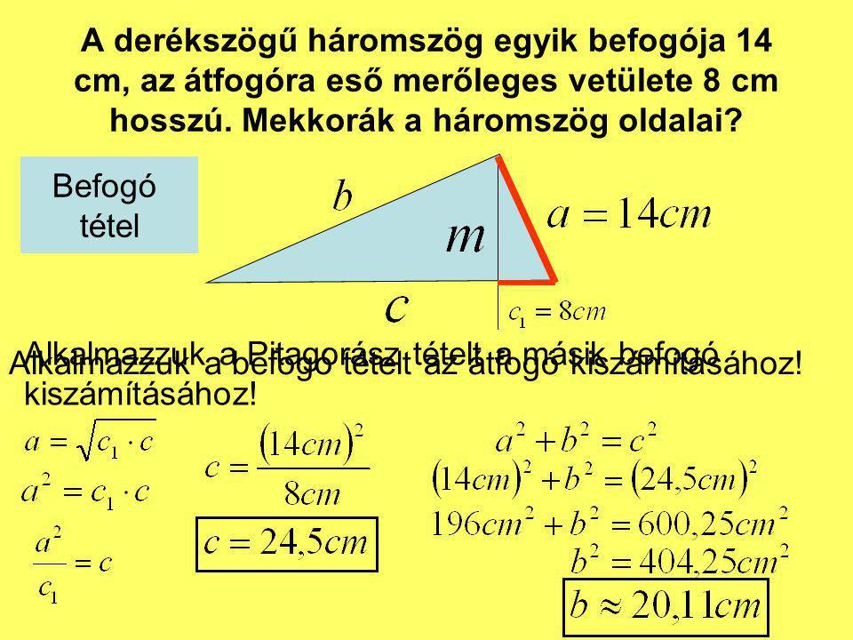 A derékszögű háromszög egyik befogója 14 cm, az átfogóra eső merőleges vetülete 8 cm hosszú. Mekkorák a háromszög oldalai? Alkalmazzuk a befogó tételt