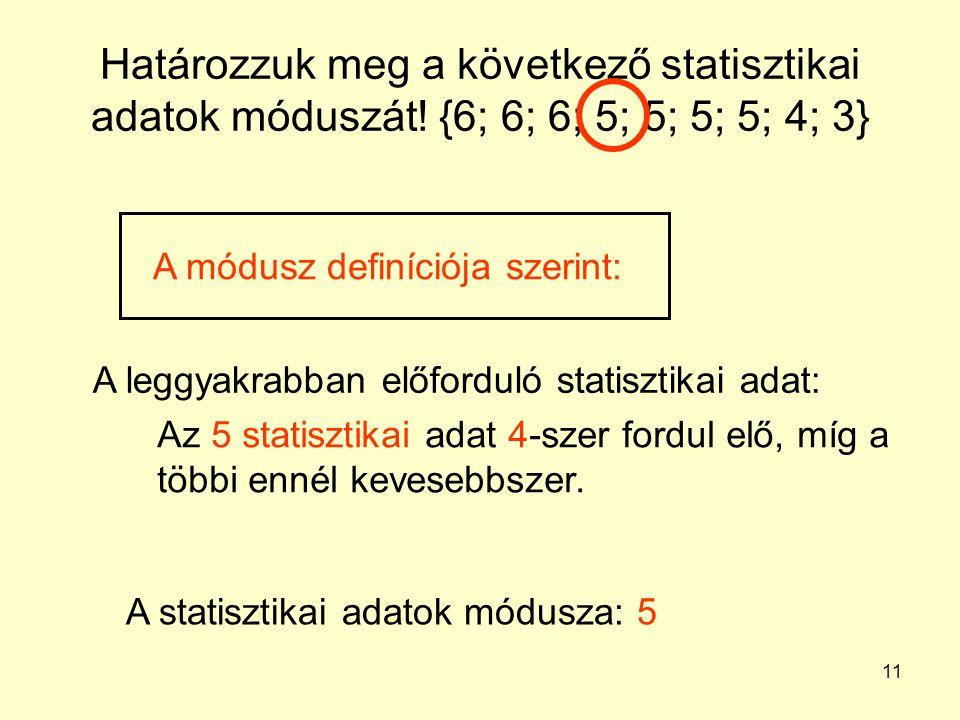 11 Határozzuk meg a következő statisztikai adatok móduszát! {6; 6; 6; 5; 5; 5; 5; 4; 3} A leggyakrabban előforduló statisztikai adat: Az 5 statisztika