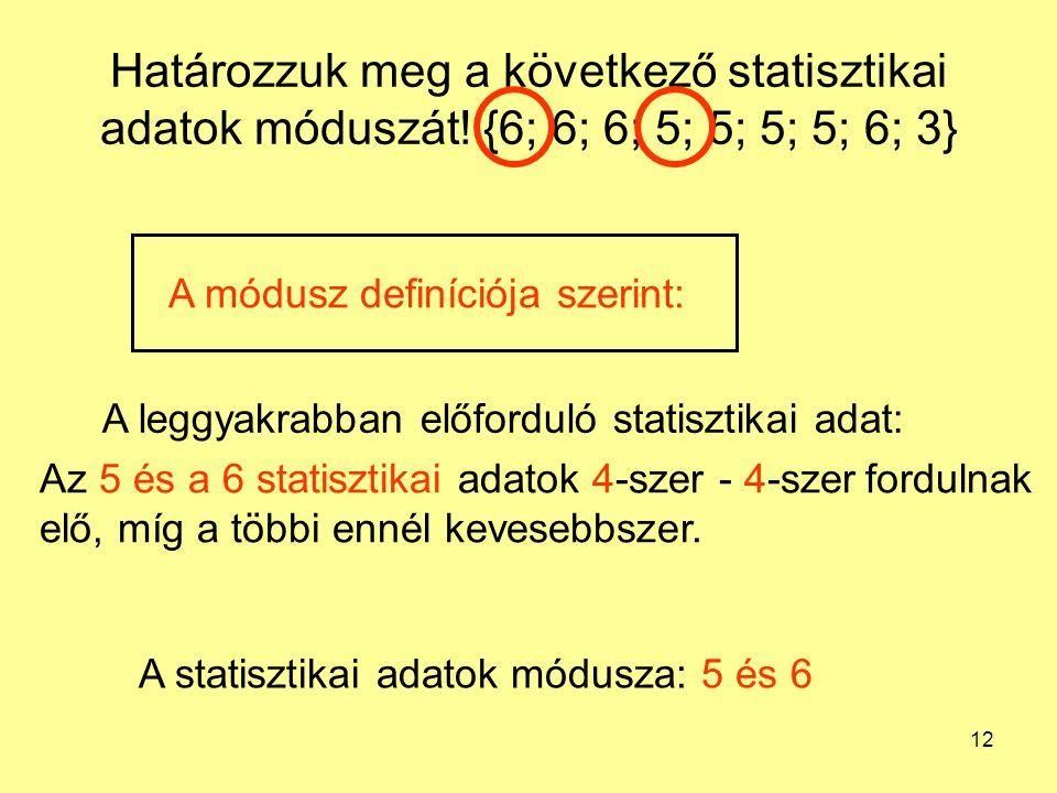 12 Határozzuk meg a következő statisztikai adatok móduszát! {6; 6; 6; 5; 5; 5; 5; 6; 3} A leggyakrabban előforduló statisztikai adat: Az 5 és a 6 stat
