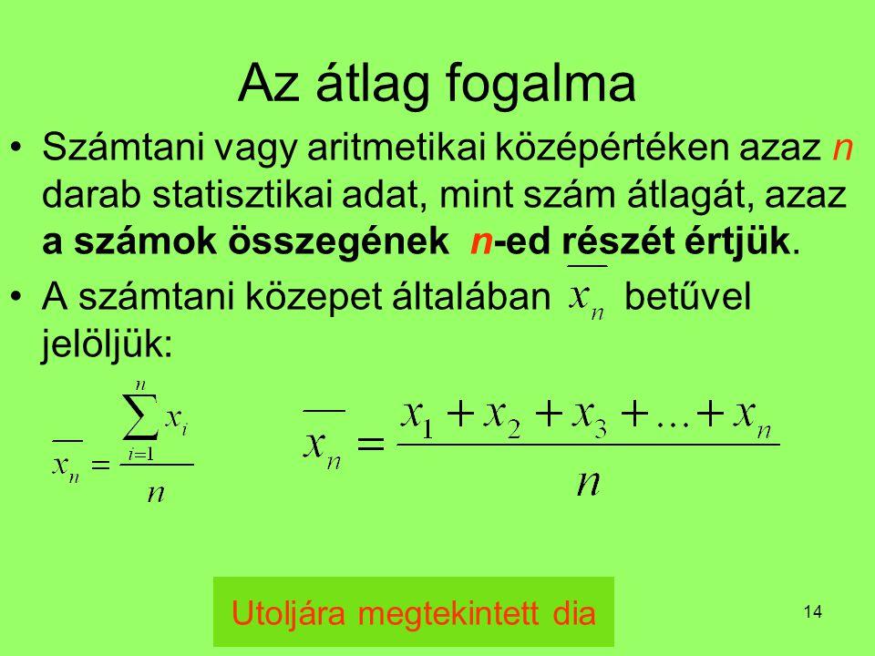 14 Az átlag fogalma Számtani vagy aritmetikai középértéken azaz n darab statisztikai adat, mint szám átlagát, azaz a számok összegének n-ed részét ért