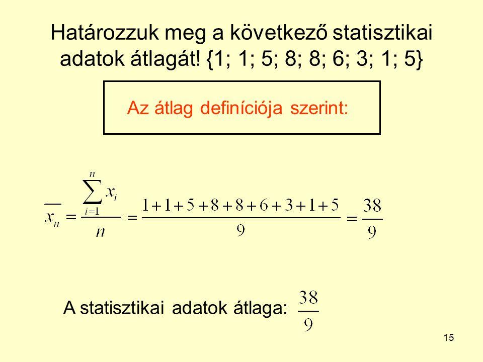 15 Határozzuk meg a következő statisztikai adatok átlagát! {1; 1; 5; 8; 8; 6; 3; 1; 5} Az átlag definíciója szerint: A statisztikai adatok átlaga:
