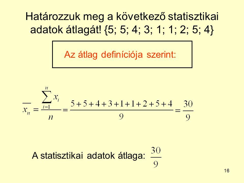 16 Határozzuk meg a következő statisztikai adatok átlagát! {5; 5; 4; 3; 1; 1; 2; 5; 4} Az átlag definíciója szerint: A statisztikai adatok átlaga: