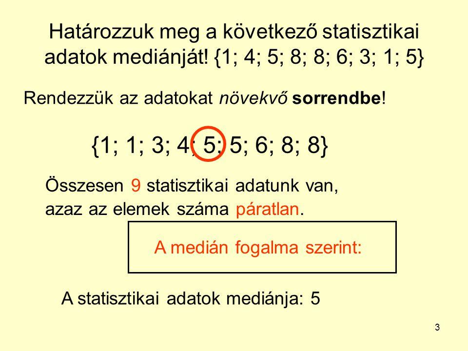 3 Határozzuk meg a következő statisztikai adatok mediánját! {1; 4; 5; 8; 8; 6; 3; 1; 5} Rendezzük az adatokat növekvő sorrendbe! {1; 1; 3; 4; 5; 5; 6;