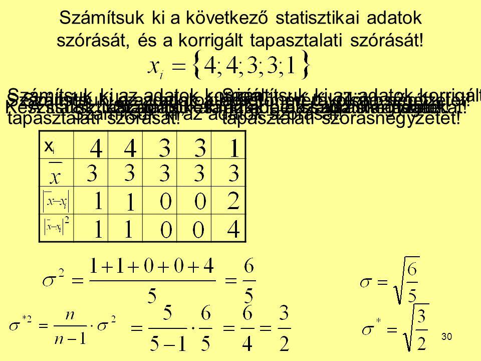 30 Számítsuk ki a következő statisztikai adatok szórását, és a korrigált tapasztalati szórását! xixi Készítsünk táblázatot, és írjuk be a statisztikai
