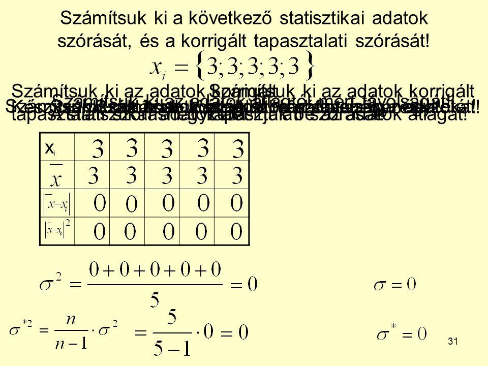 31 Számítsuk ki a következő statisztikai adatok szórását, és a korrigált tapasztalati szórását! xixi Készítsünk táblázatot, és írjuk be a statisztikai