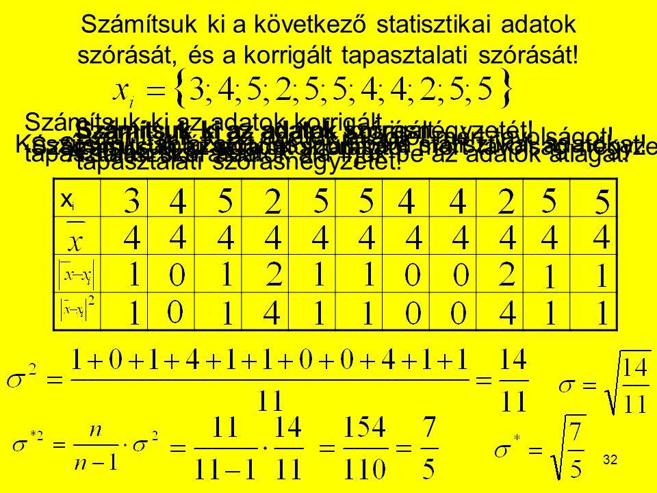 32 Számítsuk ki a következő statisztikai adatok szórását, és a korrigált tapasztalati szórását! xixi Készítsünk táblázatot, és írjuk be a statisztikai