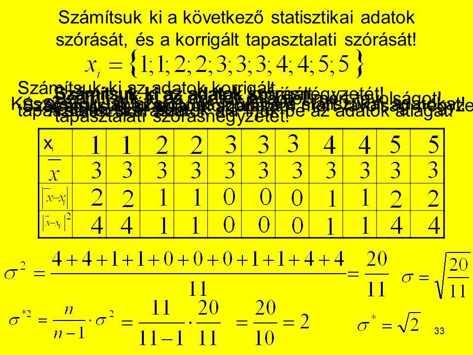 33 Számítsuk ki a következő statisztikai adatok szórását, és a korrigált tapasztalati szórását! xixi Készítsünk táblázatot, és írjuk be a statisztikai