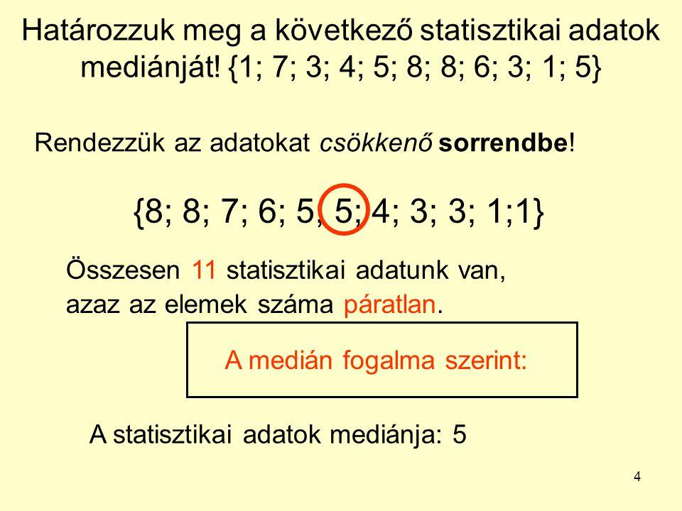 4 Határozzuk meg a következő statisztikai adatok mediánját! {1; 7; 3; 4; 5; 8; 8; 6; 3; 1; 5} Rendezzük az adatokat csökkenő sorrendbe! {8; 8; 7; 6; 5