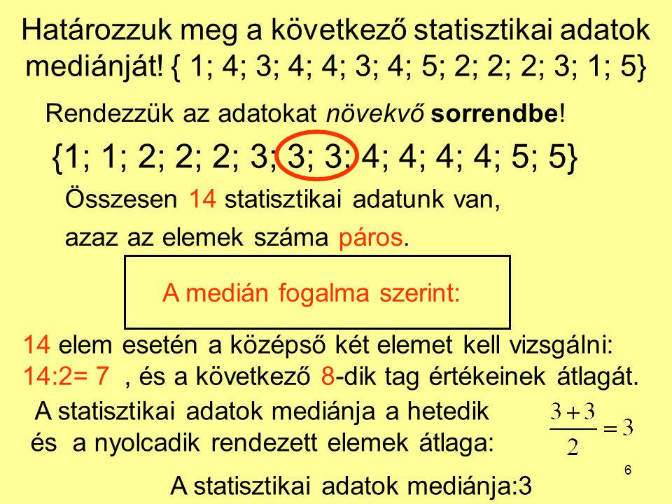 6 Határozzuk meg a következő statisztikai adatok mediánját! { 1; 4; 3; 4; 4; 3; 4; 5; 2; 2; 2; 3; 1; 5} Rendezzük az adatokat növekvő sorrendbe! {1; 1