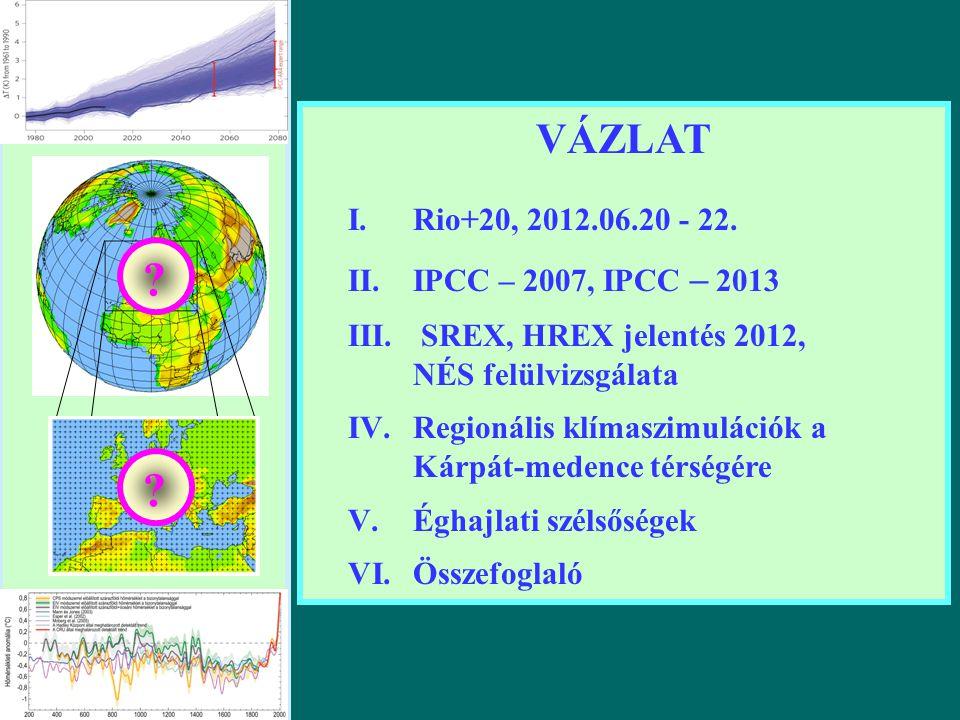 VÁZLAT I.Rio+20, 2012.06.20 - 22. II.IPCC – 2007, IPCC – 2013 III.
