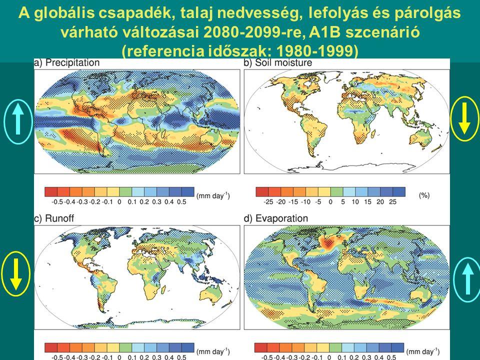 A globális csapadék, talaj nedvesség, lefolyás és párolgás várható változásai 2080-2099-re, A1B szcenárió (referencia időszak: 1980-1999)