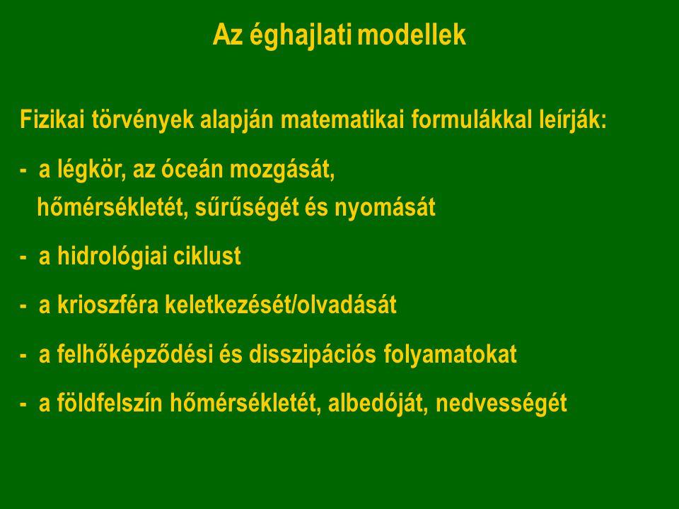 Az éghajlati modellek Fizikai törvények alapján matematikai formulákkal leírják: - a légkör, az óceán mozgását, hőmérsékletét, sűrűségét és nyomását -