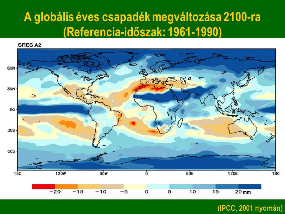 A globális éves csapadék megváltozása 2100-ra (Referencia-időszak: 1961-1990) (IPCC, 2001 nyomán)