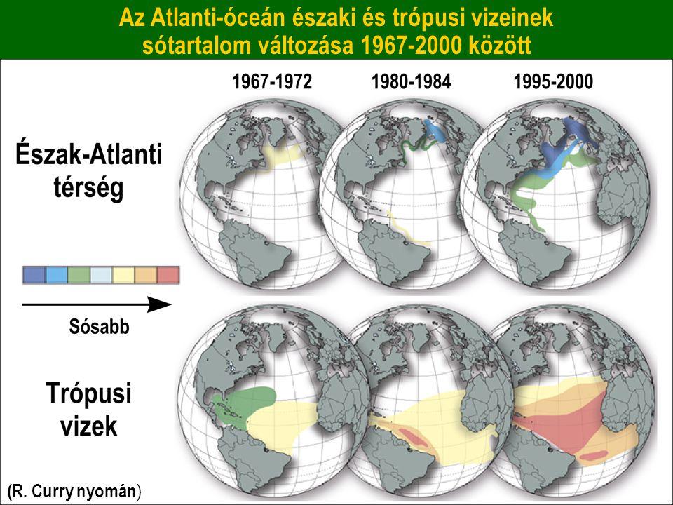 Az Atlanti-óceán északi és trópusi vizeinek sótartalom változása 1967-2000 között (R. Curry nyomán )