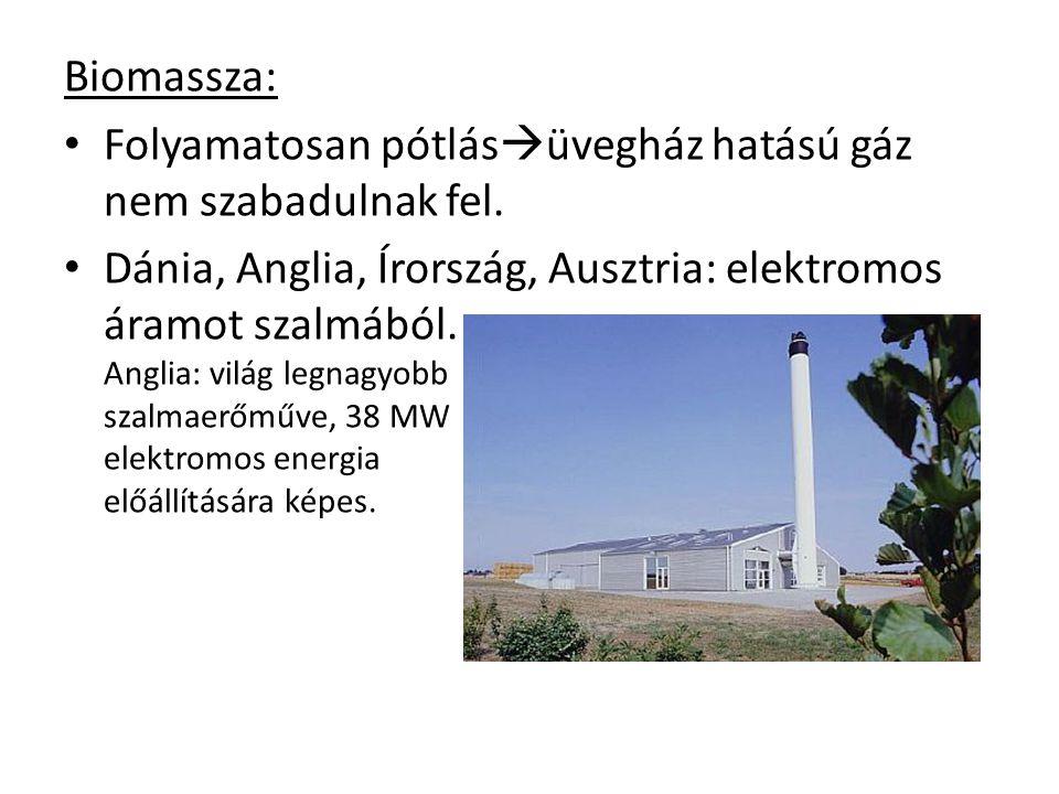 Biomassza: Folyamatosan pótlás  üvegház hatású gáz nem szabadulnak fel. Dánia, Anglia, Írország, Ausztria: elektromos áramot szalmából. Anglia: világ