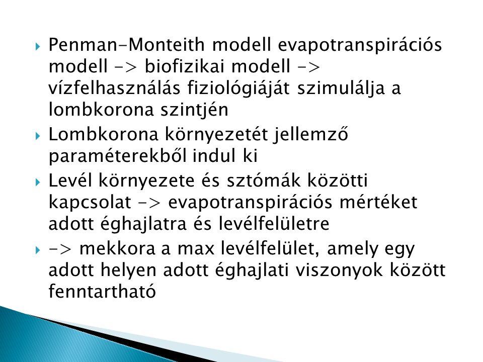  Penman-Monteith modell evapotranspirációs modell -> biofizikai modell -> vízfelhasználás fiziológiáját szimulálja a lombkorona szintjén  Lombkorona