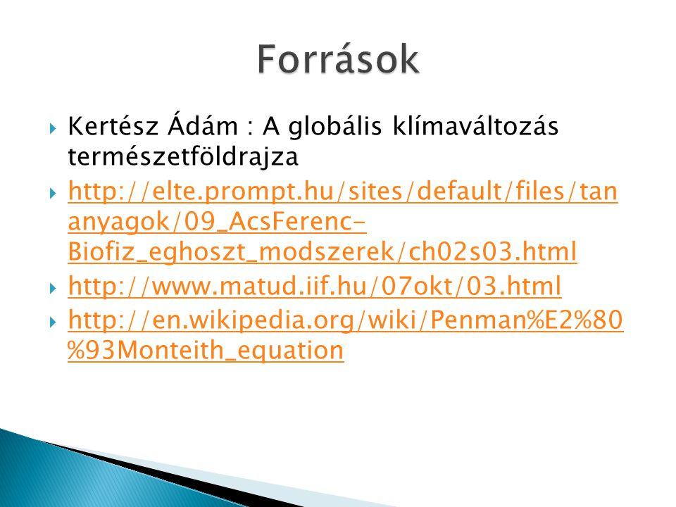  Kertész Ádám : A globális klímaváltozás természetföldrajza  http://elte.prompt.hu/sites/default/files/tan anyagok/09_AcsFerenc- Biofiz_eghoszt_mods