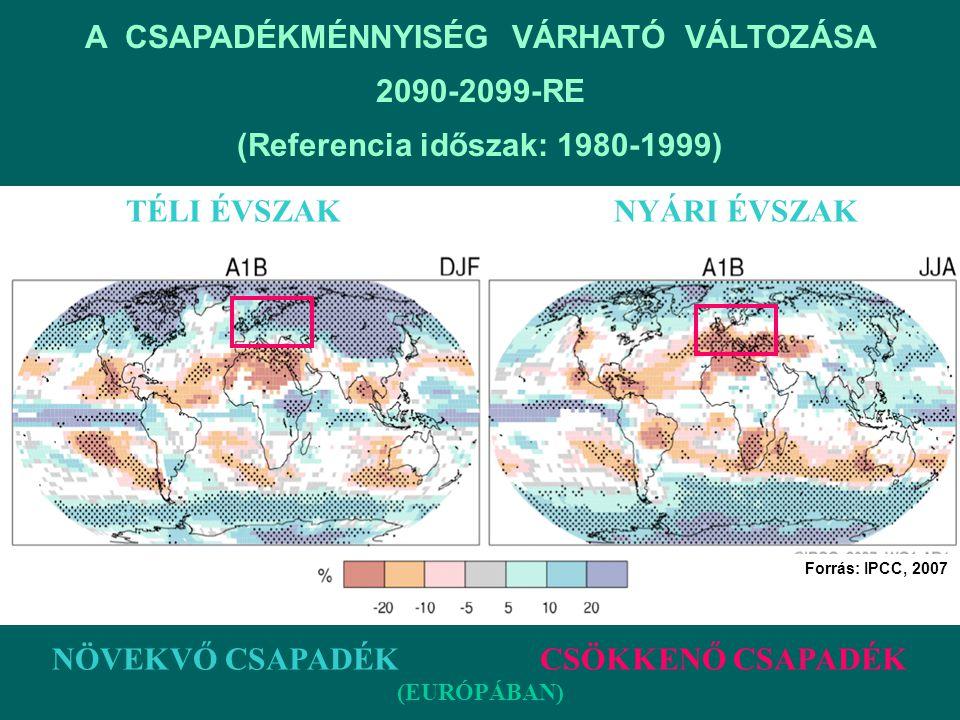 A CSAPADÉKMÉNNYISÉG VÁRHATÓ VÁLTOZÁSA 2090-2099-RE (Referencia időszak: 1980-1999) TÉLI ÉVSZAK NYÁRI ÉVSZAK NÖVEKVŐ CSAPADÉK CSÖKKENŐ CSAPADÉK (EURÓPÁ