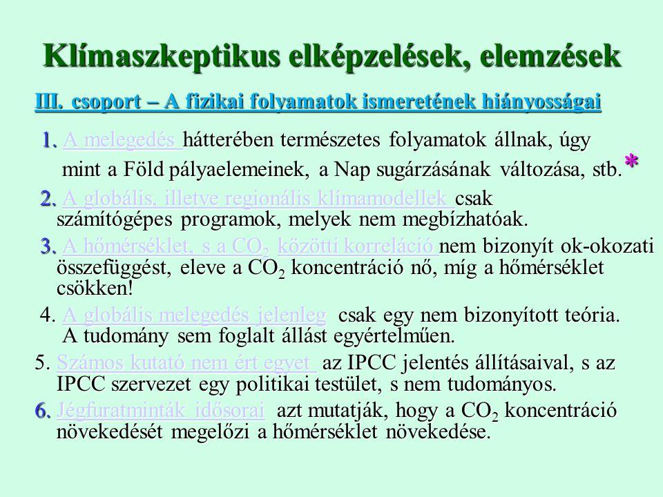 III. csoport – A fizikai folyamatok ismeretének hiányosságai 1. A melegedés hátterében természetes folyamatok állnak, úgy 1. A melegedés hátterében te