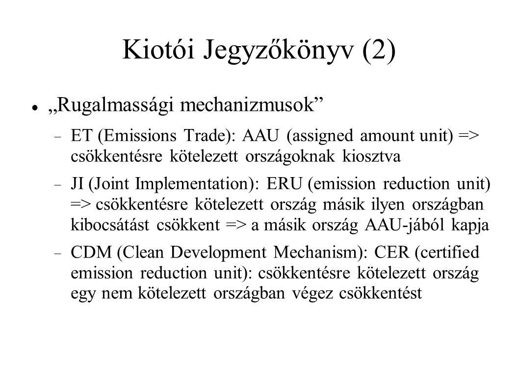 """Kiotói Jegyzőkönyv (2) """"Rugalmassági mechanizmusok  ET (Emissions Trade): AAU (assigned amount unit) => csökkentésre kötelezett országoknak kiosztva  JI (Joint Implementation): ERU (emission reduction unit) => csökkentésre kötelezett ország másik ilyen országban kibocsátást csökkent => a másik ország AAU-jából kapja  CDM (Clean Development Mechanism): CER (certified emission reduction unit): csökkentésre kötelezett ország egy nem kötelezett országban végez csökkentést"""