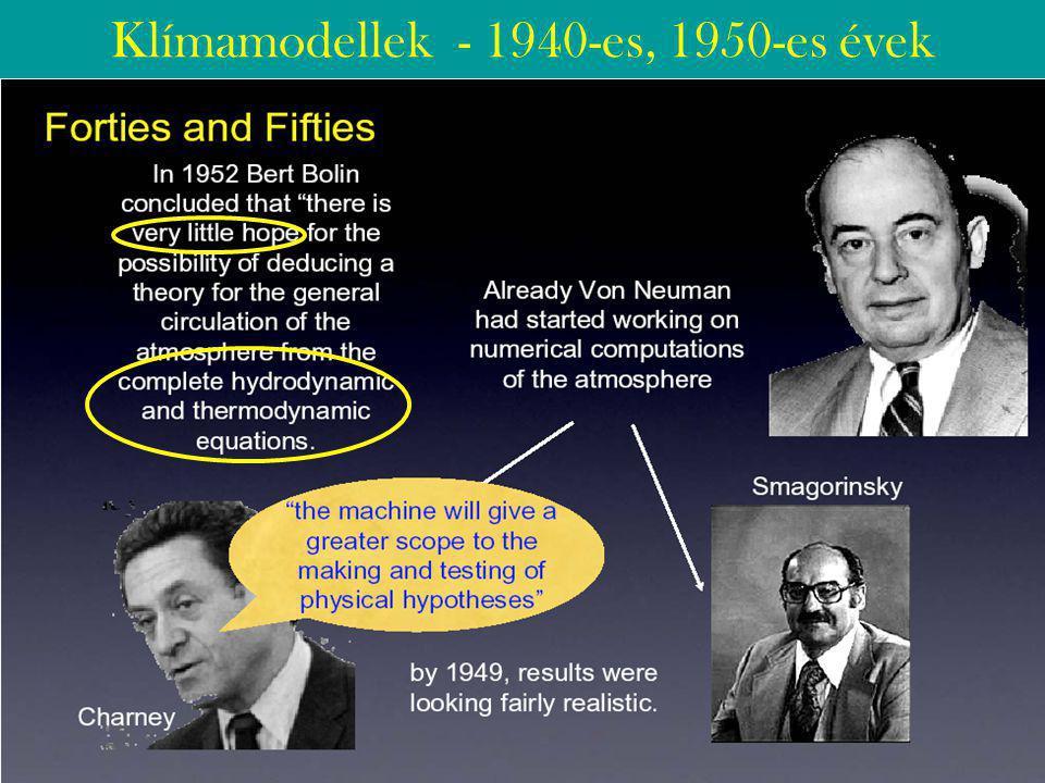 Klímamodellek - 1940-es, 1950-es évek