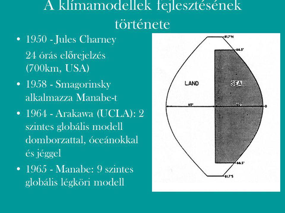 A klímamodellek fejlesztésének története 1950 - Jules Charney 24 órás el ő rejelzés (700km, USA) 1958 - Smagorinsky alkalmazza Manabe-t 1964 - Arakawa (UCLA): 2 szintes globális modell domborzattal, óceánokkal és jéggel 1965 - Manabe: 9 szintes globális légköri modell