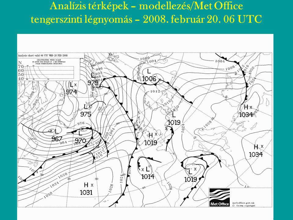 Analízis térképek – modellezés/Met Office tengerszinti légnyomás – 2008. február 20. 06 UTC