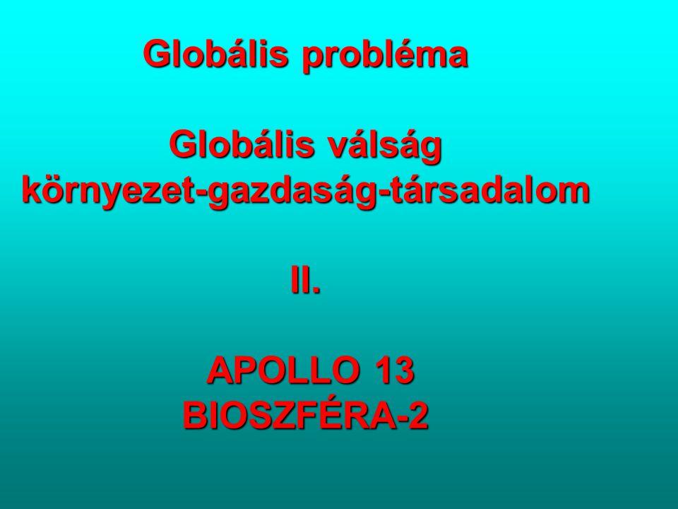 Globális probléma Globális válság környezet-gazdaság-társadalom II. APOLLO 13 BIOSZFÉRA-2