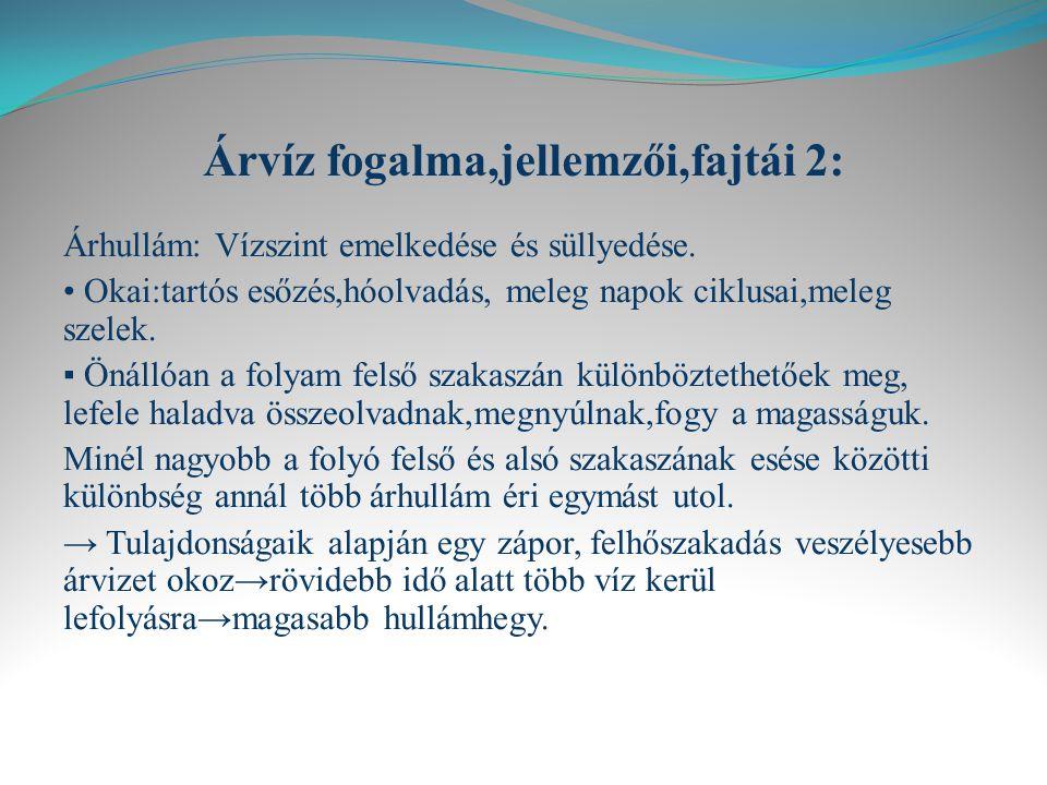 Árvíz fogalma,jellemzői,fajtái 2: Árhullám: Vízszint emelkedése és süllyedése.