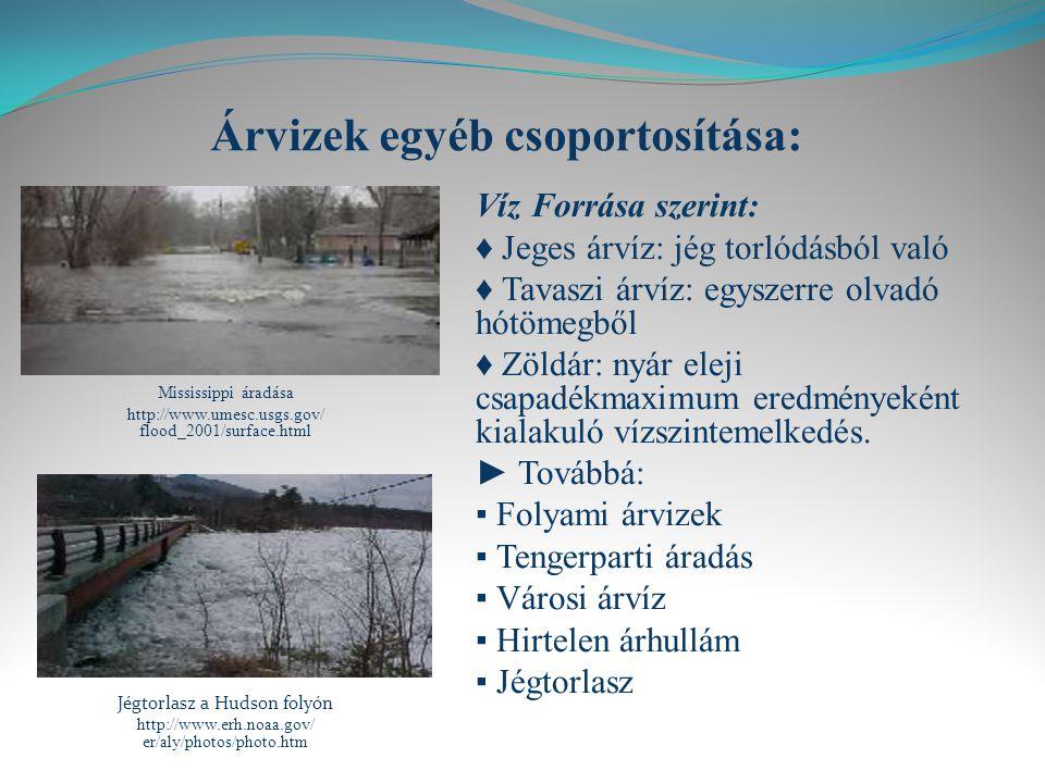 Árvizek egyéb csoportosítása: Mississippi áradása http://www.umesc.usgs.gov/ flood_2001/surface.html Jégtorlasz a Hudson folyón http://www.erh.noaa.gov/ er/aly/photos/photo.htm Víz Forrása szerint: ♦ Jeges árvíz: jég torlódásból való ♦ Tavaszi árvíz: egyszerre olvadó hótömegből ♦ Zöldár: nyár eleji csapadékmaximum eredményeként kialakuló vízszintemelkedés.