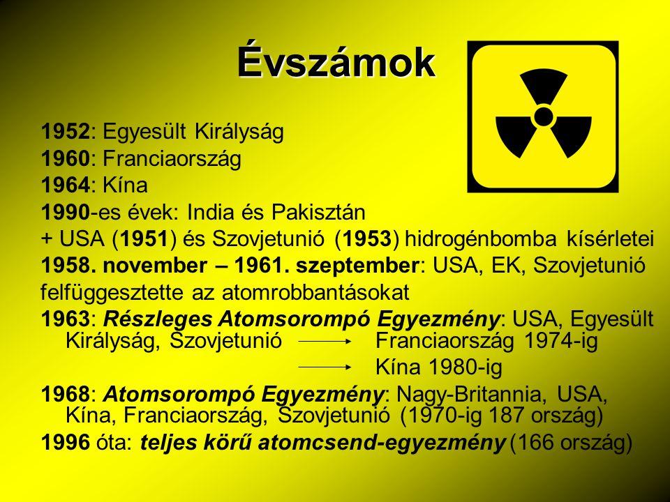 Évszámok 1952: Egyesült Királyság 1960: Franciaország 1964: Kína 1990-es évek: India és Pakisztán + USA (1951) és Szovjetunió (1953) hidrogénbomba kís