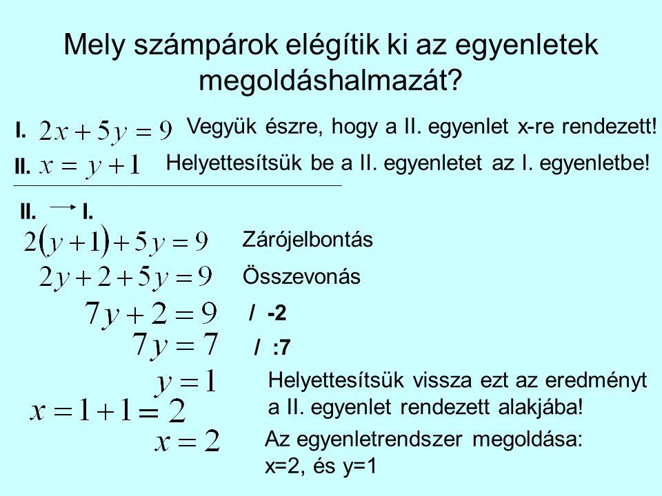 Mely számpárok elégítik ki az egyenletek megoldáshalmazát? I. II. Vegyük észre, hogy a II. egyenlet x-re rendezett! Helyettesítsük be a II. egyenletet