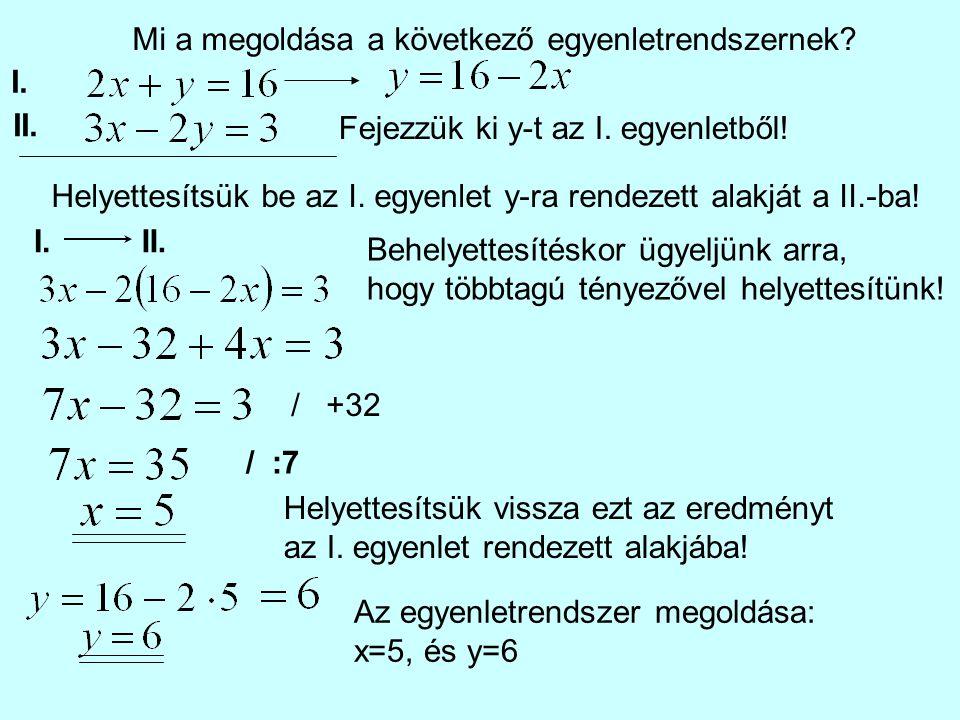 I. II. Mi a megoldása a következő egyenletrendszernek? Fejezzük ki y-t az I. egyenletből! Helyettesítsük be az I. egyenlet y-ra rendezett alakját a II