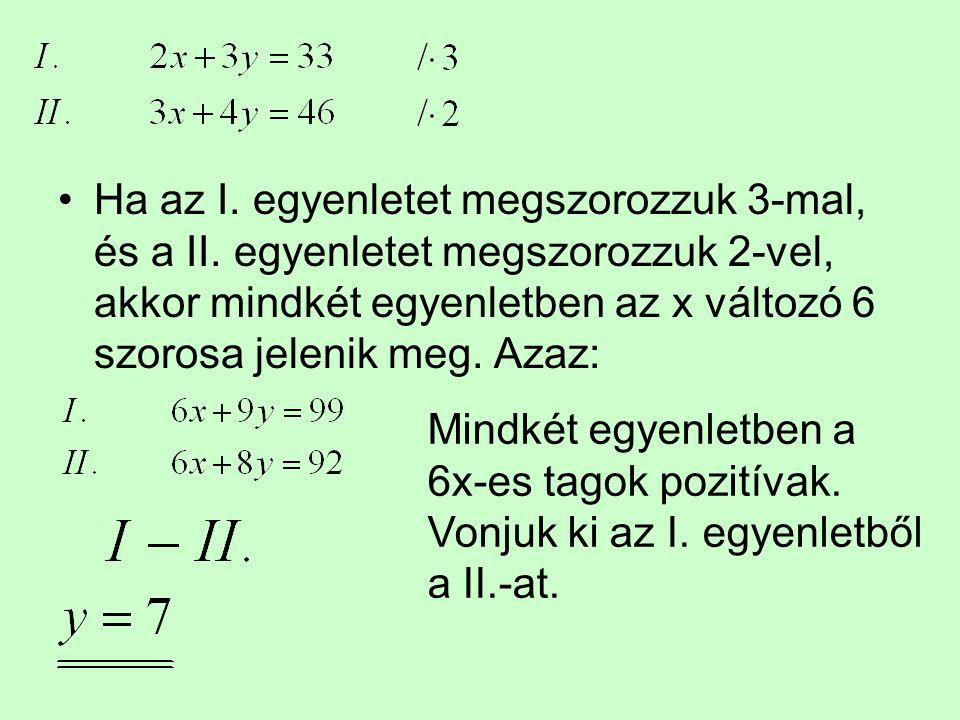 Ha az I. egyenletet megszorozzuk 3-mal, és a II. egyenletet megszorozzuk 2-vel, akkor mindkét egyenletben az x változó 6 szorosa jelenik meg. Azaz: Mi
