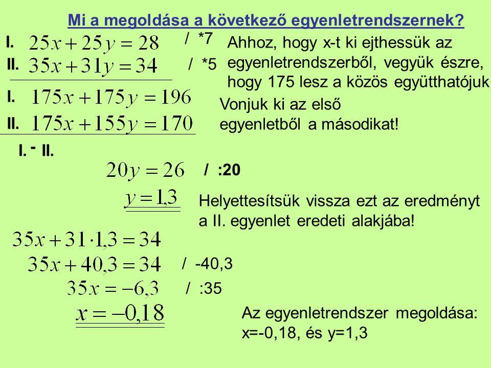 I. II. Mi a megoldása a következő egyenletrendszernek? / *7 Vonjuk ki az első egyenletből a másodikat! / :20 Helyettesítsük vissza ezt az eredményt a