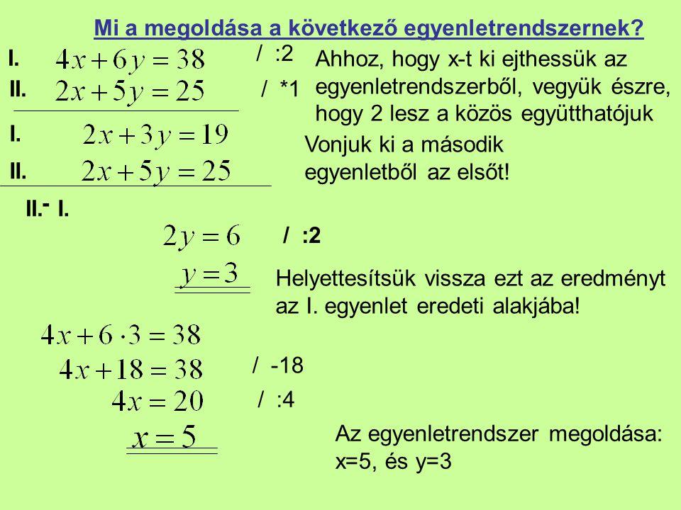 I. II. Mi a megoldása a következő egyenletrendszernek? / :2 Vonjuk ki a második egyenletből az elsőt! / :2 Helyettesítsük vissza ezt az eredményt az I